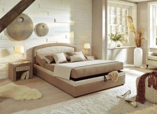Čalouněná postel beige kariert 140x200cm