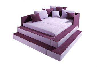 Čalouněná postel se schůdky lila 140x200cm